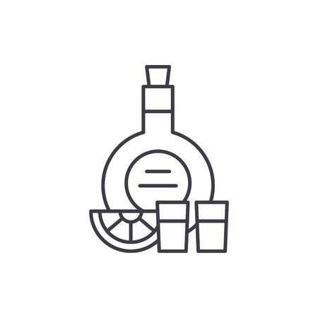 Cognac line icon concept. Cognac vector linear illustration, sign, symbol