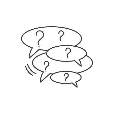 Collection of questions line icon concept. Collection of questions vector linear illustration, sign, symbol