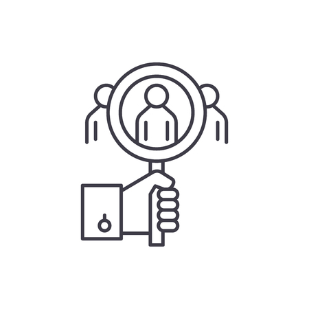 Consumer analysis line icon concept. Consumer analysis vector linear illustration, sign, symbol  イラスト・ベクター素材