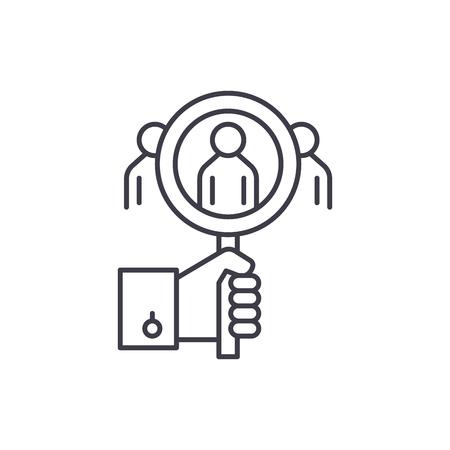 Verbraucheranalyse Symbol Leitung Konzept. Lineare Illustration des Verbraucheranalysevektors, Zeichen, Symbol