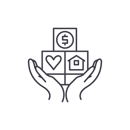 Consumer insurance line icon concept. Consumer insurance vector linear illustration, sign, symbol
