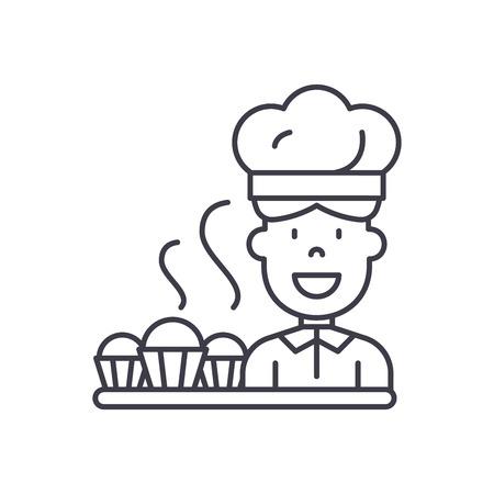 Cook preparing desserts line icon concept. Cook preparing desserts vector linear illustration, sign, symbol