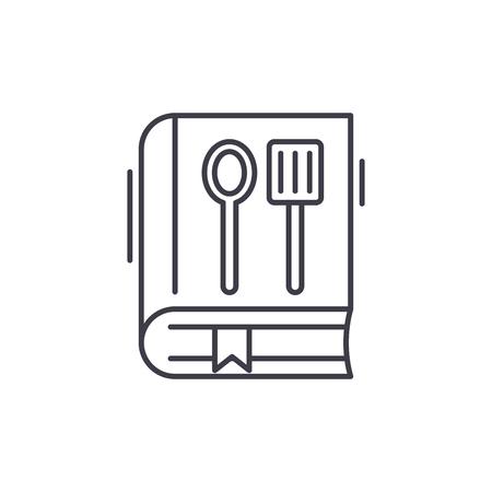 Cookbook line icon concept. Cookbook vector linear illustration, sign, symbol