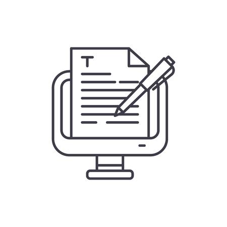 Concepto de icono de línea de redacción publicitaria. Redacción vectorial Ilustración lineal, signo, símbolo Ilustración de vector