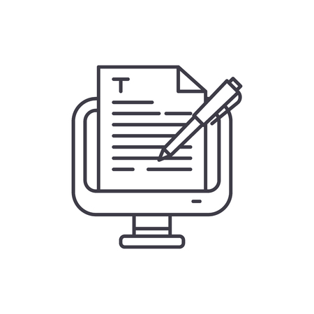 Copywriting line icon concept. Copywriting vector linear illustration, sign, symbol  イラスト・ベクター素材