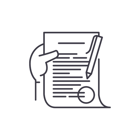 Commitment line icon concept. Commitment vector linear illustration, sign, symbol
