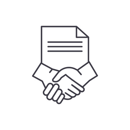 Conclusion of a contract line icon concept. Conclusion of a contract vector linear illustration, sign, symbol