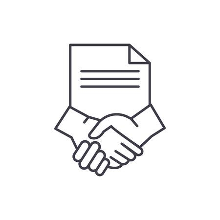 Conclusion of a contract line icon concept. Conclusion of a contract vector linear illustration, sign, symbol