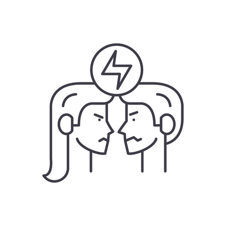 Conflict line icon concept. Conflict vector linear illustration, sign, symbol