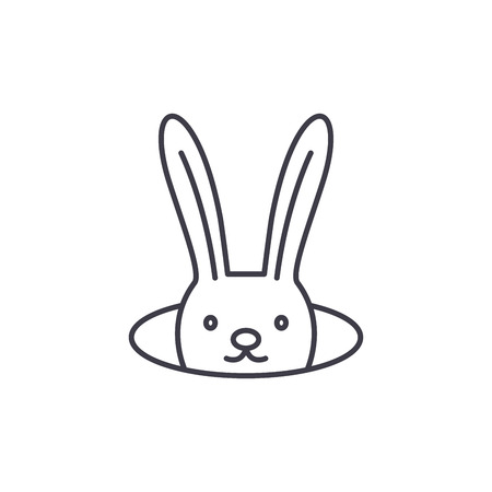 Conjure hare line icon concept. Conjure hare vector linear illustration, sign, symbol Illusztráció