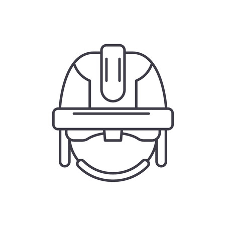 Construction mask line icon concept. Construction mask vector linear illustration, sign, symbol
