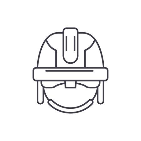 Construction mask line icon concept. Construction mask vector linear illustration, sign, symbol