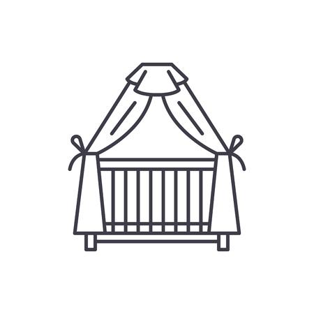 Cot line icon concept. Cot vector linear illustration, sign, symbol Illusztráció
