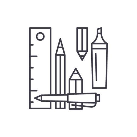 L'icône de la ligne des outils de comptage concept. Outils de comptage illustration linéaire vectorielle, signe, symbole