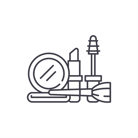 Cosmetics and makeup line icon concept. Cosmetics and makeup vector linear illustration, sign, symbol
