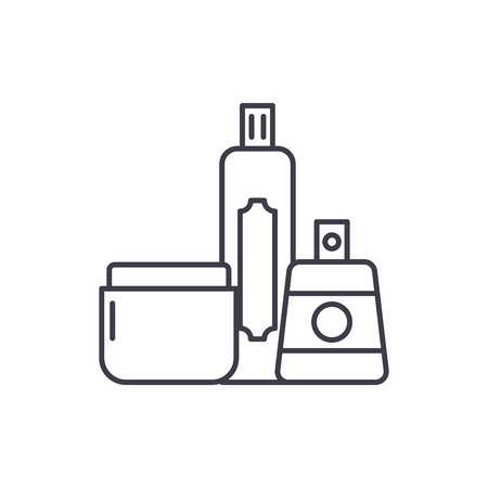 Cosmetics shop line icon concept. Cosmetics shop vector linear illustration, sign, symbol 일러스트