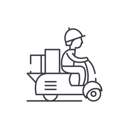 Courier on a motor scooter line icon concept. Courier on a motor scooter vector linear illustration, sign, symbol Banque d'images - 112691489