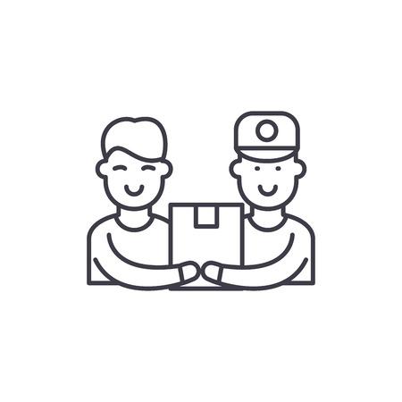 Courier service line icon concept. Courier service vector linear illustration, sign, symbol Vektoros illusztráció