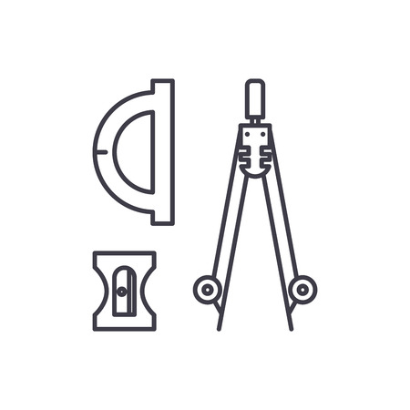 Compass, sharpener, ruler line icon concept. Compass, sharpener, ruler vector linear illustration, sign, symbol