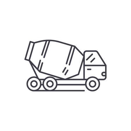 Concrete truck line icon concept. Concrete truck vector linear illustration, sign, symbol