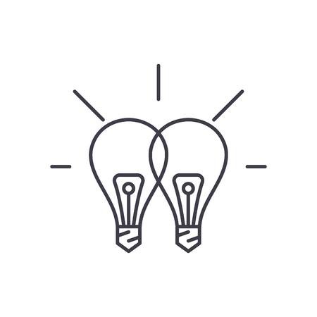 Creative synergy line icon concept. Creative synergy vector linear illustration, sign, symbol