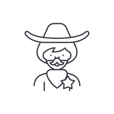 Cowboy line icon concept. Cowboy vector linear illustration, sign, symbol Banque d'images - 112691507