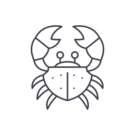 Crab line icon concept. Crab vector linear illustration, sign, symbol