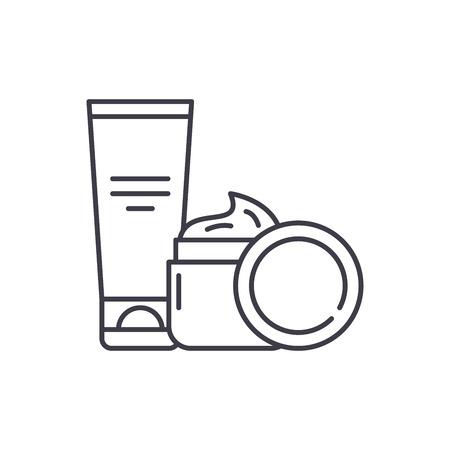 Creme cosmetiche icona linea concept. Creme cosmetiche lineare del vettore illustrazione, segno, simbolo