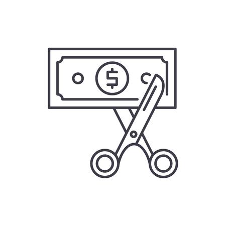Cost optimization line icon concept. Cost optimization vector linear illustration, sign, symbol Stock Vector - 127493450