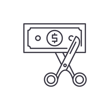 Cost optimization line icon concept. Cost optimization vector linear illustration, sign, symbol
