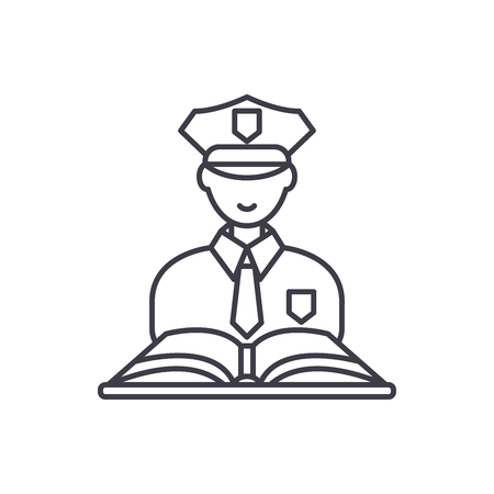 Criminal law line icon concept. Criminal law vector linear illustration, sign, symbol 向量圖像