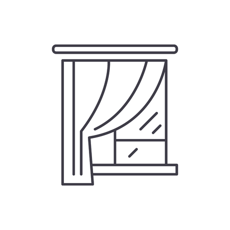 Curtains line icon concept. Curtains vector linear illustration, sign, symbol