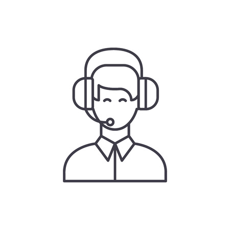 Customer support line icon concept. Customer support vector linear illustration, sign, symbol