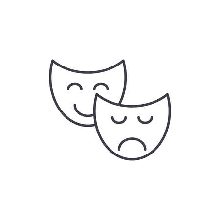 Comedy and tragedy line icon concept. Comedy and tragedy vector linear illustration, sign, symbol