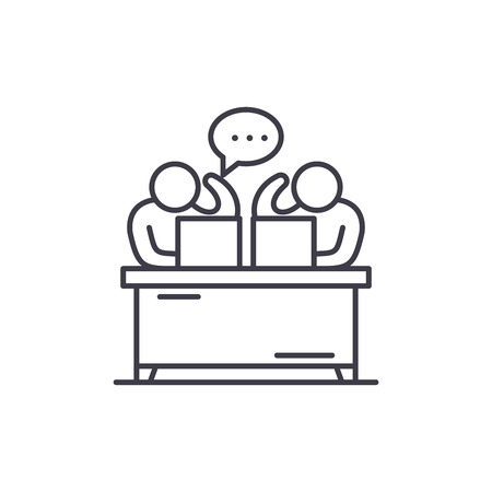 Commentators line icon concept. Commentators vector linear illustration, sign, symbol