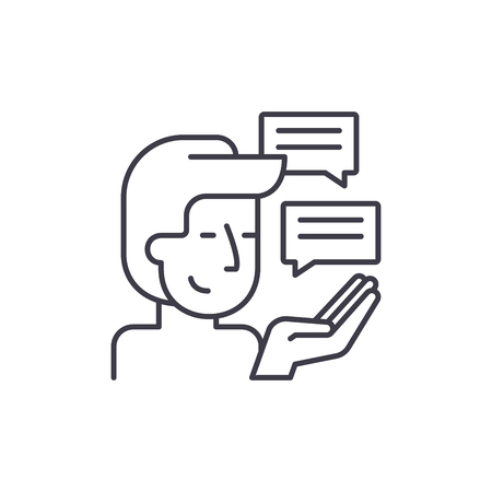 Customer research line icon concept. Customer research vector linear illustration, sign, symbol Ilustração