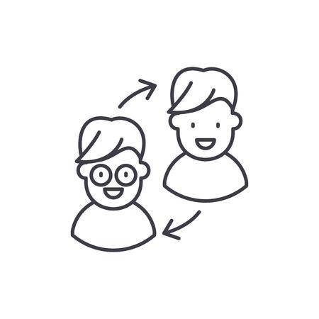 Customer transformation line icon concept. Customer transformation vector linear illustration, sign, symbol