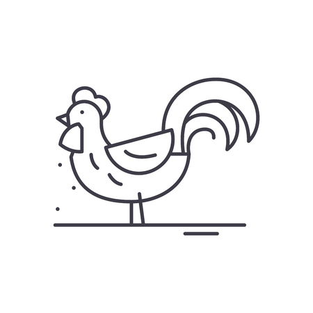Cute cock line icon concept. Cute cock vector linear illustration, sign, symbol Çizim