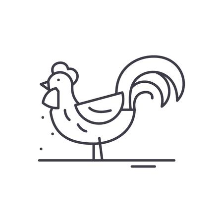 Cute cock line icon concept. Cute cock vector linear illustration, sign, symbol Illustration