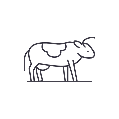 Cute cow line icon concept. Cute cow vector linear illustration, sign, symbol