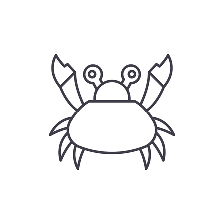 Cute crab line icon concept. Cute crab vector linear illustration, sign, symbol Illustration