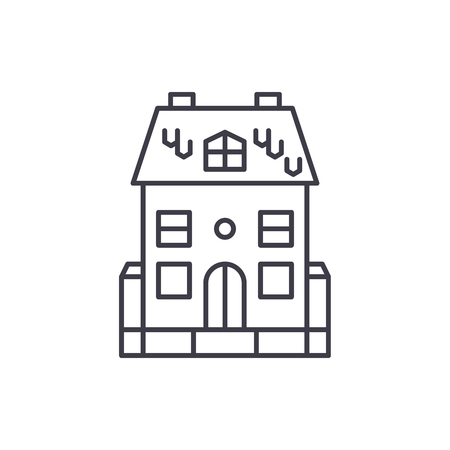 Cute family house line icon concept. Cute family house vector linear illustration, sign, symbol