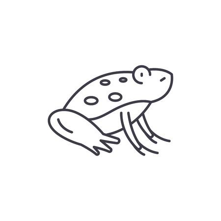 Cute frog line icon concept. Cute frog vector linear illustration, sign, symbol Illustration