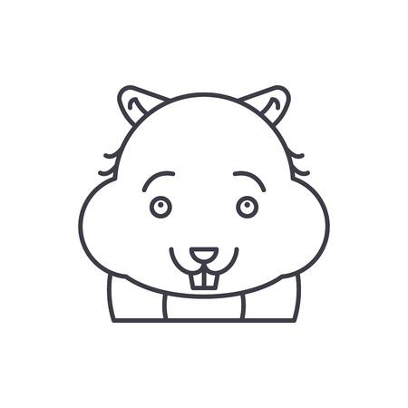 Cute hamster line icon concept. Cute hamster vector linear illustration, sign, symbol