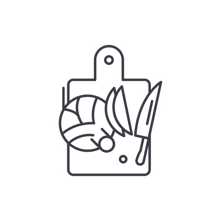 Cutting vegetables line icon concept. Cutting vegetables vector linear illustration, sign, symbol