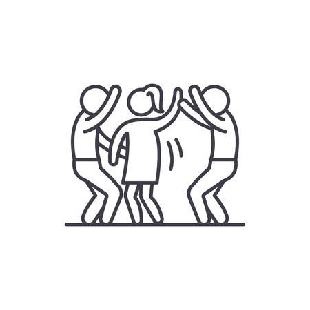 Dance party line icon concept. Dance party vector linear illustration, sign, symbol Ilustração
