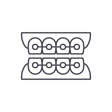 Dantist braces line icon concept. Dantist braces vector linear illustration, sign, symbol Illustration