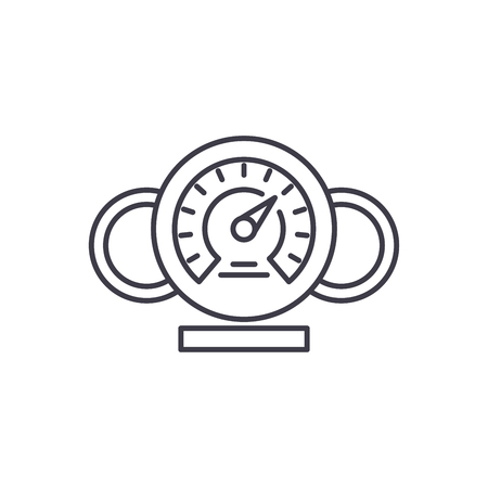 Dashboard line icon concept. Dashboard vector linear illustration, sign, symbol Stock Illustratie
