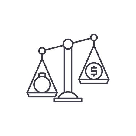 Debentures line icon concept. Debentures vector linear illustration, sign, symbol Ilustração