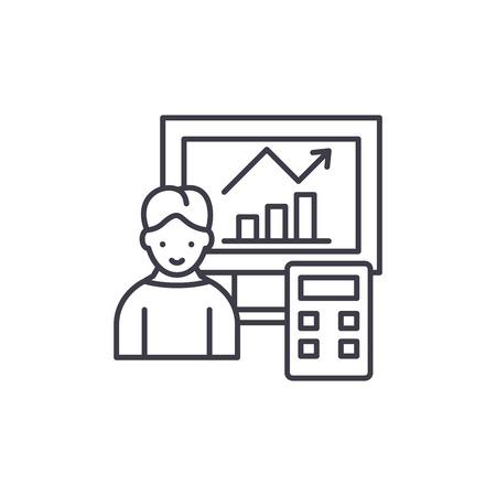 Data analysis system line icon concept. Data analysis system vector linear illustration, sign, symbol Illustration